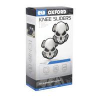 Oxford Skull Motorcycle Motorbike Track Day Road Race Knee Sliders White