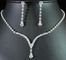 WEDDING CLEAR AUSTRIAN RHINESTONE CRYSTAL NECKLACE EARRINGS SET BRIDAL 01277
