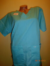 Landau Scrubs V Neck Top with bottom pockets Blue THLA Style 8219 Sz Medium