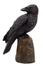 Black Raven Perching On Cliff Rock Looking Back Figurine Statue.Bird Collectible