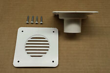 NEW - RV Camper Trailer-Battery Box Vent w/ Backing Plate For Hose, WHITE