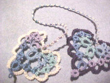 Dove Country Tatted Bookmark Heart to Heart Variegated Blues Lacey Tatting