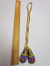 EYE CATCHING NATIVE AMERICAN FULLY BEADED MINI MOCCASIN REARVIEW MIRROR ORNAMENT