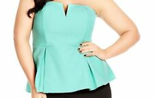 CITY CHIC Plus Size 16W TURQUOISE GREEN STRAPLESS V-NECK TUBE TOP Peplum shirt