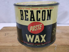 VINTAGE BEACON PASTE WAX 1 LB GAS OIL DISPLAY CAN Boston Mass.