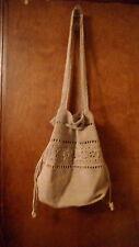 Women's Handbag woven Natural Tan with drawstring hobo style shoulder bag