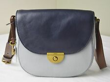 Fossil Emi Navy Iron Blue Leather Saddle Crossbody Messenger Bag