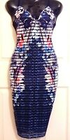 LIPSY SIZE 10 FLORAL LACE UP BUST STRETCH MIDI LENGTH DRESS BNWT NEW IN!