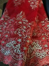 Red and White Floral Design French Lace Fabric with Pearls 5yards