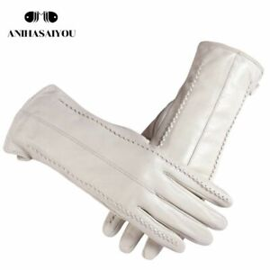 Warm Winter Fashion White Genuine Leather Gloves Wrist Cotton Lining Adult Women