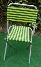 Vintage Retro Aluminium Striped Deck Chair Folding Stool Small Camping VW Camper
