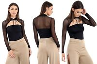 Womens Ladies Long Sleeve Mesh Sheer Choker Neck Evening Party Top Blouse