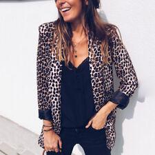 Womens Leopard Snake Skin Jackets Blazer Long Sleeve Coat Outwear Overcoat Suit