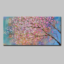 Mintura Hand Oil Paintings on Canvas Pink and White Leaves Hotel Decor  Wall Art