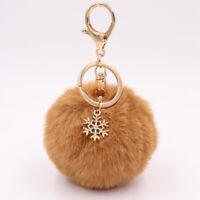 Snowflake Fluffy Fur Tassel Pompom Ball Handbag Key Chain Key Ring Pendant
