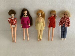 2 Vintage Topper Dawn Dolls, Clones, With Clothes Long Short Hair 70's, Mod