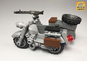 WW2 German motorcycle with sidecar custom brick for minifigure by Buildarmy®
