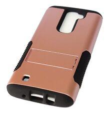 For LG K7 / Tribute 5 - Hard&Soft Hybrid High Impact Armor Case Rose Gold Black