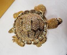Gorgeous Gold  Rhinestone Turtle Jewelry Trinket Box  7X5.5 Comes in Gift Box