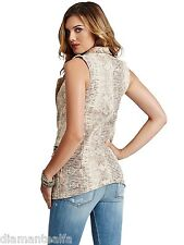 GUESS Women's Tuxedo Vest With Snake Foil Print - Milk Snake Foil Wash sz S