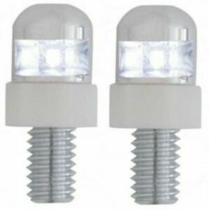 United Pacific White LED License Plate Fastener Stainless Steel Housing 2 Pack