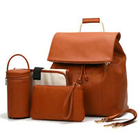 PU Leather Diaper Bag Backpack With Shoulder Strips Changing Pad Bottle Warmer