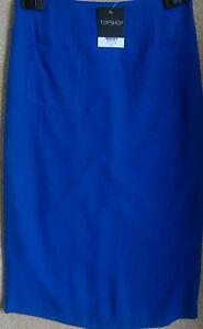 Topshop Cobalt Blue Wiggle Pencil Skirt RRP £35 Size 10