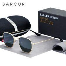 BARCUR Classic Retro Reflective Sunglasses Man Hexagon Sunglasses Metal Frame