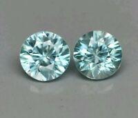 Zircon azul par 2 uni 1.59ct 5mm redondo  natural  de camboya