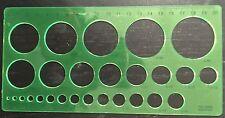 CIRCLES DRAWING STENCIL TEMPLATE,CIRCULAR SHAPES-2mm TO40 mm DIA 27 CIRCLES 2088