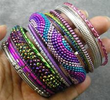 BOHO Resin Crystal Steel Aluminum Brass Polyester Rainbow 14 Bangle Bracelet Set