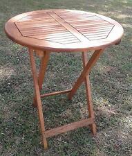 Round Acacia Wood Folding Table For Garden & Patio (75cm Height x 60cm Diameter)