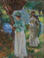 """perfect 24x36 oil painting handpainted on canvas """"Two Girls with Parasols""""@N5514"""