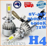 H4 72W 7600LM Philips LED Headlight KIT HIGH LOW Beam Replace Halogen Xenon
