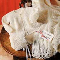 "Baby Matinee Jacket Bonnet & Shawl 16"" - 20""   4 Ply Crochet Pattern"