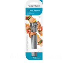 Kitchen Craft 6 x 15cm Flat Sided Skewers - Stainless Steel BBQ Skewer - Medium