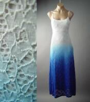 White Blue Eyelet Ombre Boho Slip Long Maxi 236 mv Crochet Lace Dress S M L XL