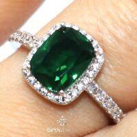 Sparkling Green Emerald Halo Ring Women Wedding Jewelry 14K White Gold Plated