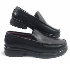 Carolina Shoe Women's Black Steel Toe Slip Resistant Leather Loafers Sz 9 M