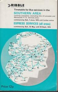 RIBBLE BUS TIMETABLE BOOK SOUTHERN AREA MAY 1974 WITH ROUTE MAP