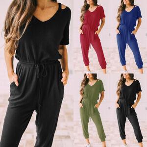 Womens Ladies Short Sleeve Lounge Wear Tracksuit Jumpsuit Casual Comfy Playsuit