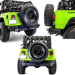 "Dual Plate Rock Crawler Rear Bumper+2"" Receiver Hitch for 97-06 Jeep Wrangler TJ"