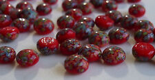 36 Vintage Glass Millefiori 8mm Round Red Dome Flat Back Japanese G1-1B