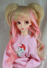 "1/3 8-9"" BJD DOLL WIG SD BLOND PINK CURLY LONG BANGS PIGTAILS DOLLFIE JR61 USA"