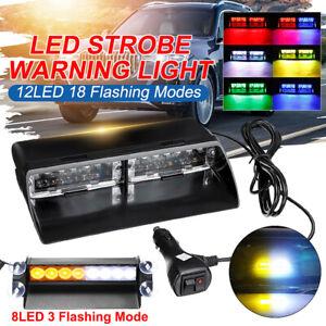 12 LED 12V Car Auto Windshield Dashboard Emergency Warning Flashing Strobe Light