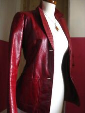 Size s/p UK 10 8 Ladies GAP red real leather fitted JACKET  blazer hip length