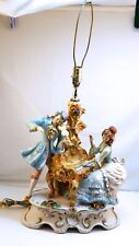 """EXTRA LARGE Capodimonte Figural Table Lamp 18.5""""x15"""" Musicians, Italy, Italian N"""