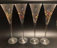 Set (4) Hand Blown Murano—Style Art Glass Confetti Champagne Flutes NICE!