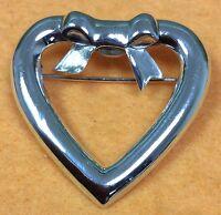 Vintage 925 Sterling Silver Heart Brooch Pin Fine Jewelry