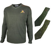 Pheasant Embroidered Pullover Crew V-Neck Wool Jumper & Shooting Tie Hunting